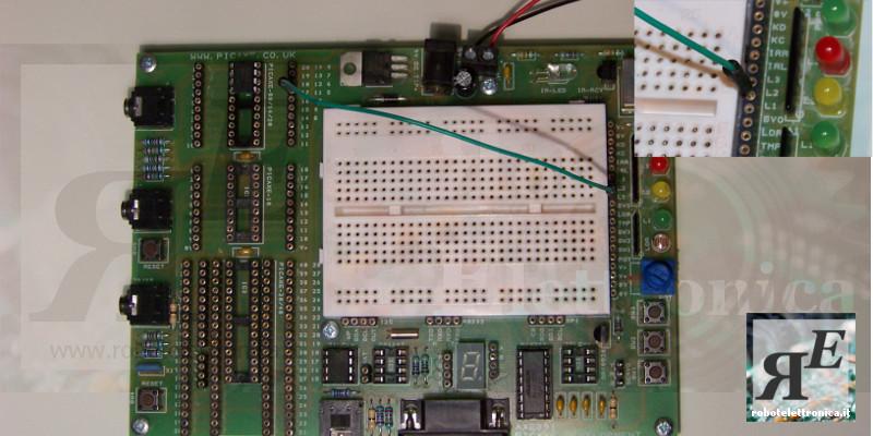 collegamento led L1 con Picaxe 08M2